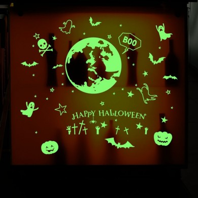 Creative Halloween Series Fluorescent Luminous Paste Stickers Night Light Bar KTV Decorative Wall Sticker Can Be Removed DIY PVC