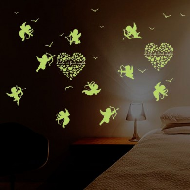 Adesivo murale Cupido Glow In The Dark Adesivi murali adesivi fluorescenti per bambini Home Decor Decalcomanie