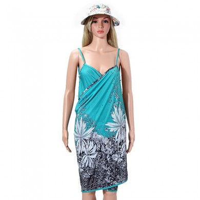 Women Ladies Summer Printed Spandex Slip Sun Protective Beach Towels Beach Dress