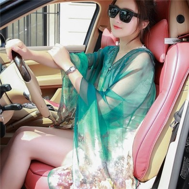 Women Summer Chiffon Multifunction Printing Sunscreen Scarves Shawls Beach Towel