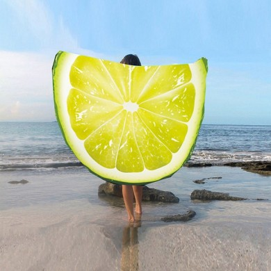 Fashion Women 3D Lemon Watermelon Fruit imprimé Beach Towel Round Yoga Mat Shawl