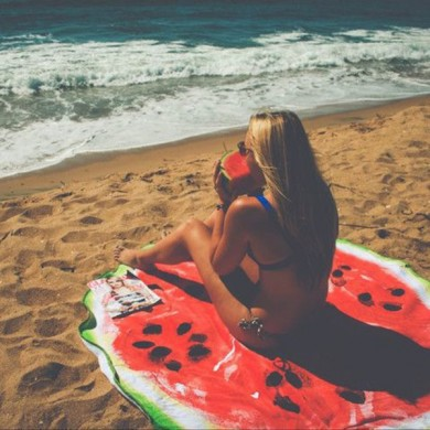 Women Summer Round Watermelon Printing Serviette de plage Multi-Purpose Sunscreen Shawl Scarf