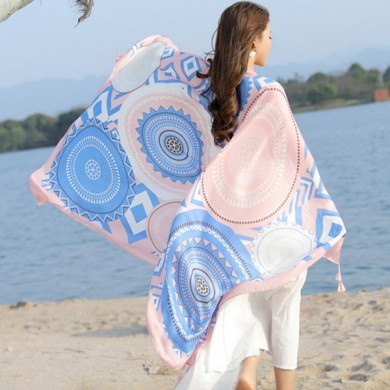 Femme Impression respirante Thin Voile Écharpe Outdoor Summer Sunscreen Beach Shawl