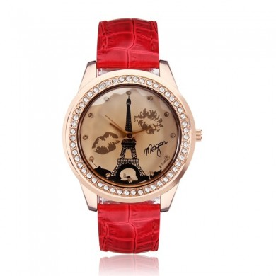 Fashion Leather Eiffel Tower Lip Crystal Women Quartz Wrist Watch