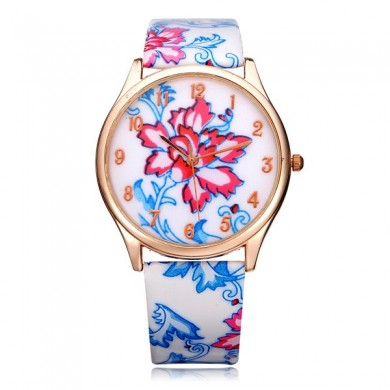 PU Leather Flower Number Round Women Quartz Wrist Watch