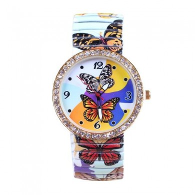 Butterfly Printed Rhinestone Elastic Stainless Steel Watch