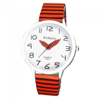 WOMAGE Fashion Women Pencil Pointer Striated Strap Leather Quartz Watch