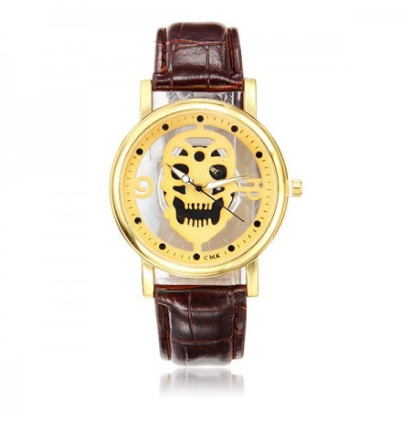 Skeleton Hollow Fashion Male Female Business PU Leather Quartz Wrist Watch