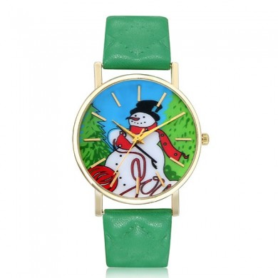 Cute Cartoon Snowman Women Children PU Leather Wrist Watch