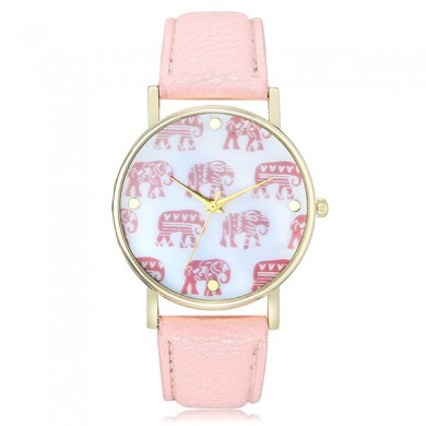 Fashion Elephants Pattern PU Leather Band Women Analog Quartz Wrist Watch