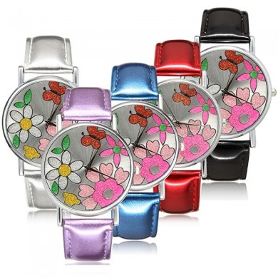 Fashion flower polvere flash in pelle pu banda analogico al quarzo ragazze donne orologio