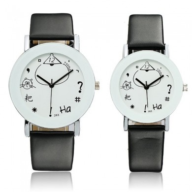 YAZOLE 263 Concise Fashion PU Leather Band Analog Quartz Couples Watch