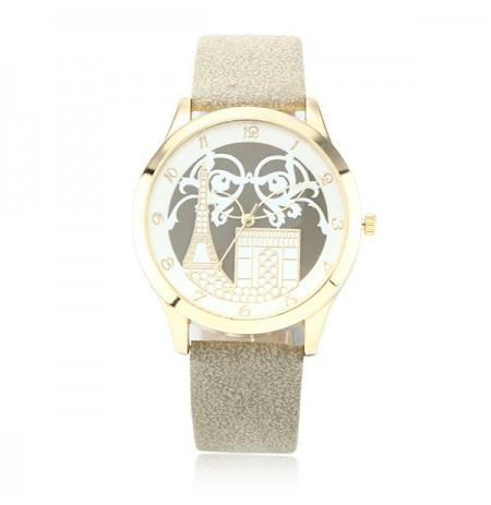 Fashion Paris Small Tower Construction Pattern PU Leather Band Women Quartz Wrist Watch