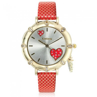 Women Fashion Heart Pendant Design Crystal PU Leather Analog Quartz Watch