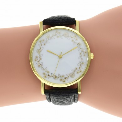 Casual Simple Elegant Flower Garland Leather Band Ladies Women Quartz Wrist Watches
