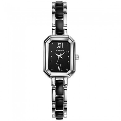 SINOBI 9488 Fashion Ladies Silver Bracelet Watch Rectangle Elegant Women Casual Wrist Watch