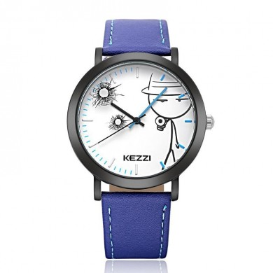KEZZI 1514 Casual Children Quartz Watch Cute Design Leather Strap Student Watch