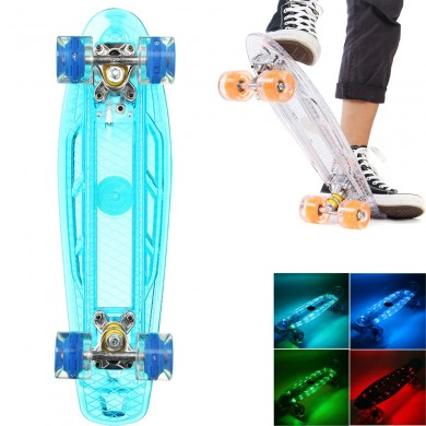 "22"" LED Penny Style Flashing Single Warped Four Wheel Skateboard Teenagers Kids"