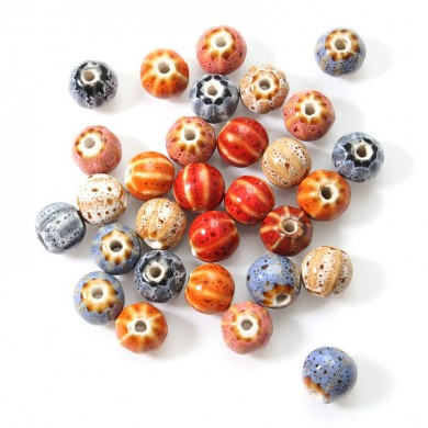 12mm 5Pcs Ceramic DIY Jewelry Flower Glaze Watermelon Forme Loose Beads