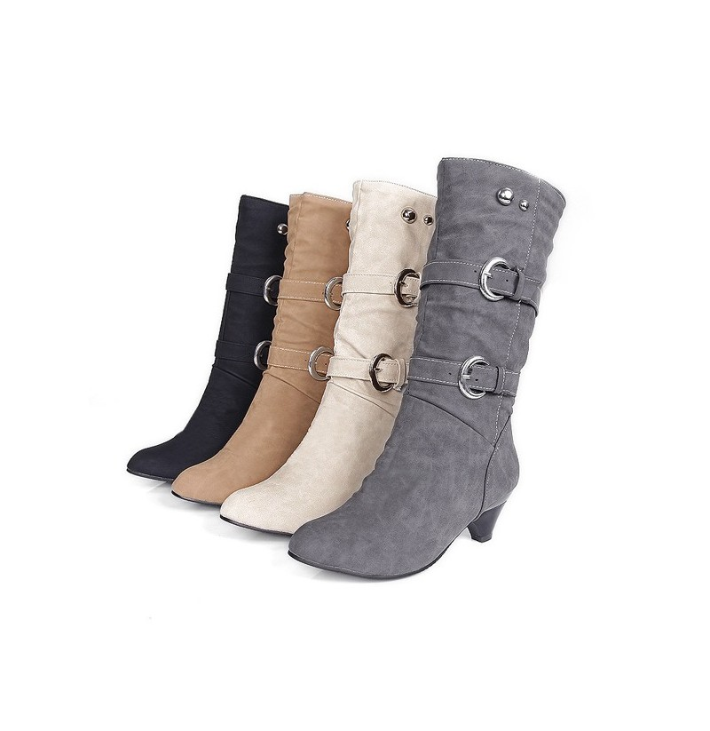 US Size 5-12 Women Mid-Calf Boots Slip On Casual Suede Soft Boots (Color: Gray, Size(US): 6) фото