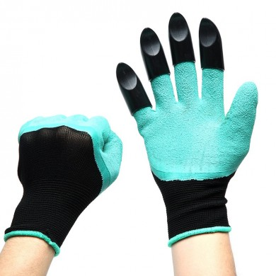Loskii LG-GA2 1Pair Gardening Digging Gloves Planting Rubber Polyester Safety Work Gloves