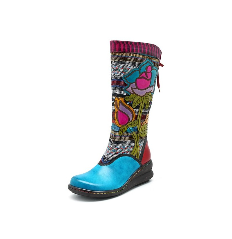 SOCOFY Genuine Leather Handmade Floral Pattern Zipper Boots (Color: Blue, Size(US): 11) фото