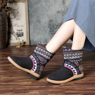 Mujer Folkways Stitching Patrón Casual Mid-calf Botas
