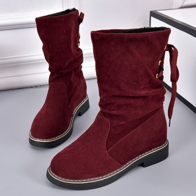 Women Casual Fur Lining Lace Up Mid Calf Boots