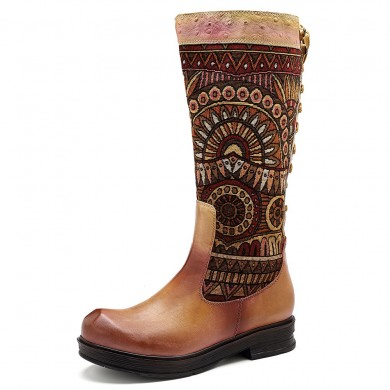 SOCOFY Jacquard Zipper Leather Boots
