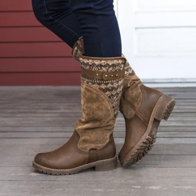 Large Size Women Casual Mid Calf Boots