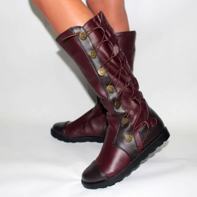 Large Size Flat Round Toe Slip On Cross Mid Calf Boots