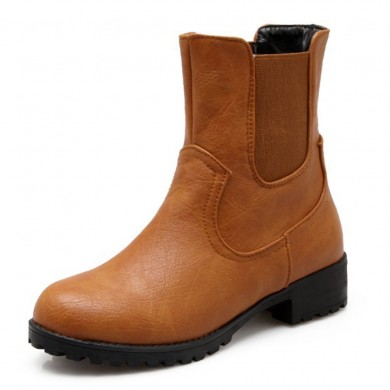 Large Size Round Toe Slip On Casual Mid Calf Boots