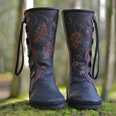 LOSTISY Large Size Keep Warm Buckle Mid Calf Boots