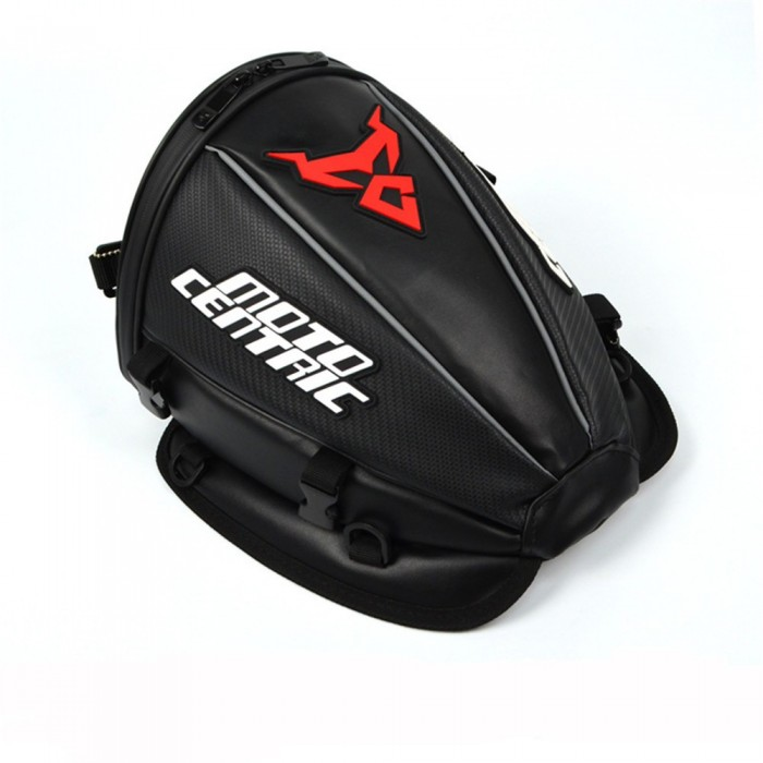 Motocentric Waterproof Motorcycle Leather+Carbon fibre Reflective Tail Bag Travel Tank Bag Saddlebags