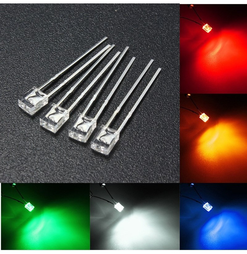 100PCS 2x3x4mm Wide Angle Flat Top LED Diodes Water Clear Transparent Light Lamp (Color: Green) фото