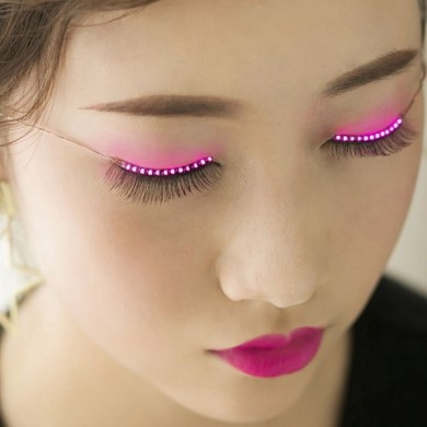 Fashionable Sparkle Interactive LED Light Up Waterproof Eyelashes for Christmas Party Pub Club Bar
