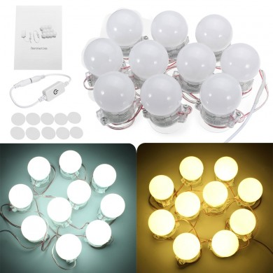10 Pcs Hollywood Style LED Vanity Makeup Illuminated Dressing Table Mirror Light