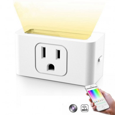 Smart Wifi presa di corrente US Plug Con Dimmerabile LED Night Light Wireless APP remoto Control White Light