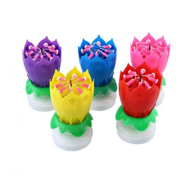 Musical Lotus Rotating Flower Feliz cumpleaños Party Gift Candle Lights
