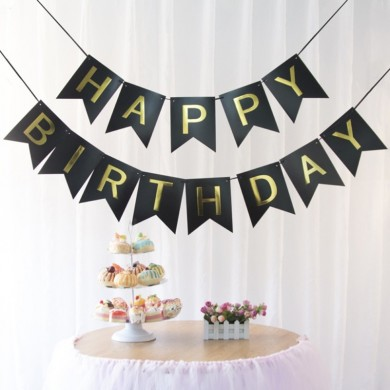 1 SET Papier Happy Birthday Party Bunting Banner Brief Hängen Pastell Rosa String Flags Party Dekoratio