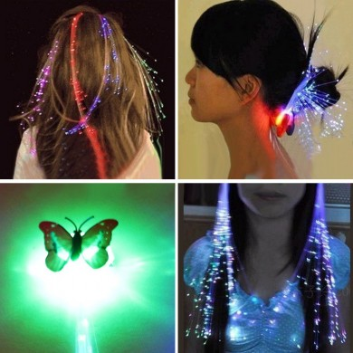 12pcs Neuheit LED Shining Hair Braids Haarspange Flash LED Faser Haarnadel Clip Leuchten Stirnband Deko