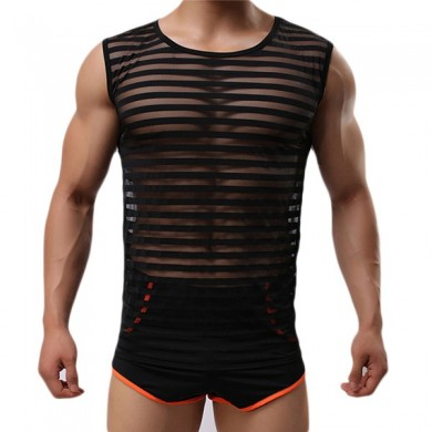 Fashion Casual Mens Sports Breathable Bodybuilding Sleeveless  Fitness Vest Low Slits Tank Tops