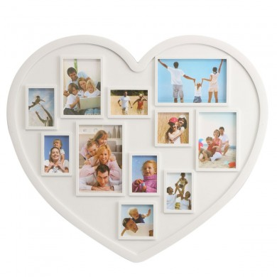 11 Pictures Heart Shape Family Photo Frame Holder Wall Hanging Picture Decoration