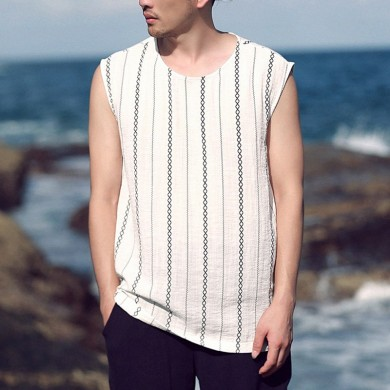 Mens Faux Cotton Linen Sleeveless Crew Striped Tank Tops