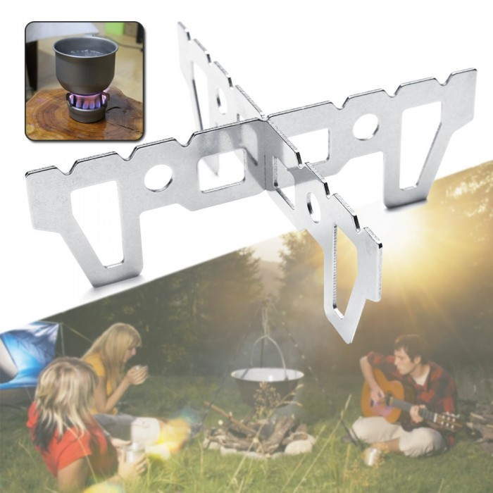 2 X Outdoor Picnic Alcohol Stove Cross Bracket Rack Water Cup Camping Cooking