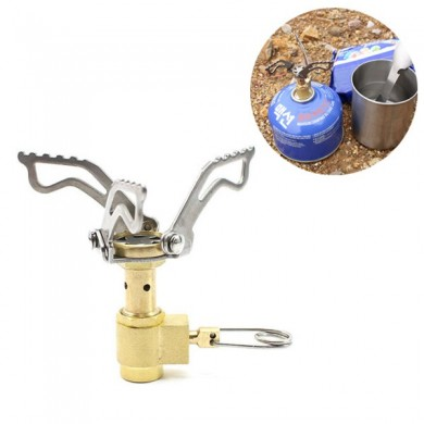 IPRee® Mini Camping Stove Outdoor BBQ Picnic Cooking Stove Portable Ultralight Brass Folding Gas Stove