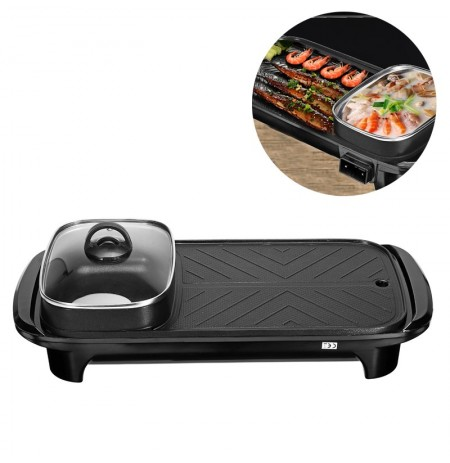 2 En 1 1200 W Hot Pot Électrique Multi-fonctionnel Four Four Barbecue Électrique Pan Cookware 220V US Plug
