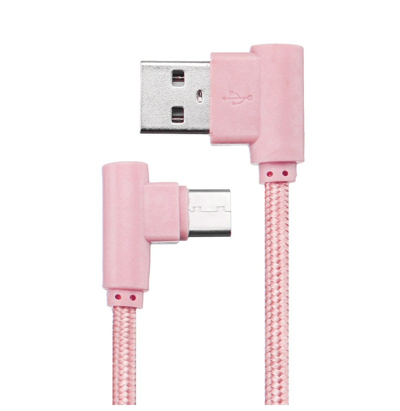 Bakeey 90 Degree Reversible Type C Charging Data Cable 0.66ft/0.2m for Xiaomi Mi A2 Pocophone F1 (Color: Rose Gold) фото