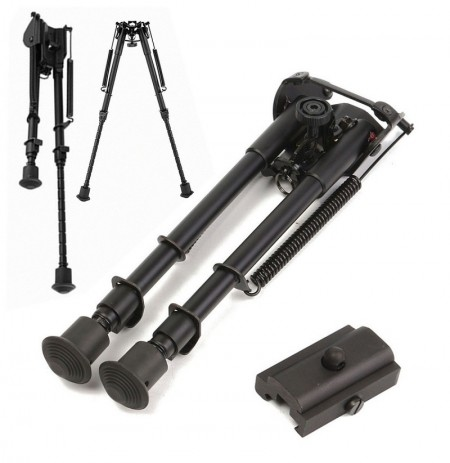 20mm Adjustable Stud Spring 9 inch Bipod Picatinny Rail With Standard Rail Mount