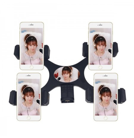 Four Mobile Phone Host Stent Landing Tripod with Mirror Phone Folder Clip
